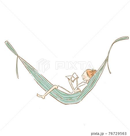 ハンモックで読書する若い女性のイラスト 76729563