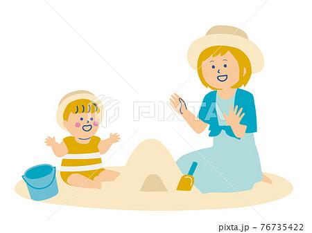 砂浜で遊ぶ赤ちゃんとお母さんのイラスト 76735422