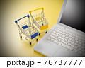パソコンとショッピングカート ネット通販のイメージ 76737777
