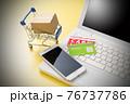 パソコンとショッピングカート ネット通販のイメージ 76737786
