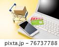 パソコンとショッピングカート ネット通販のイメージ 76737788
