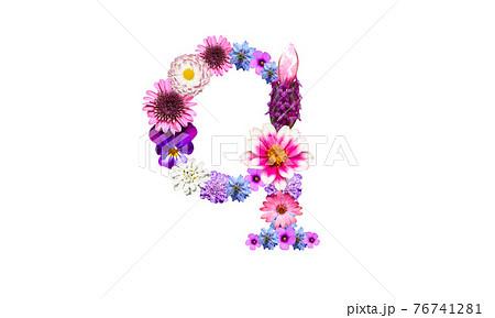 花でデコレーションしたアルファベットの小文字のq(花文字) 76741281