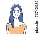 女性のイラスト ロングヘア 76742589