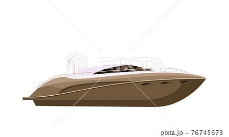 Private speed yacht vessel isolated on white background 76745673