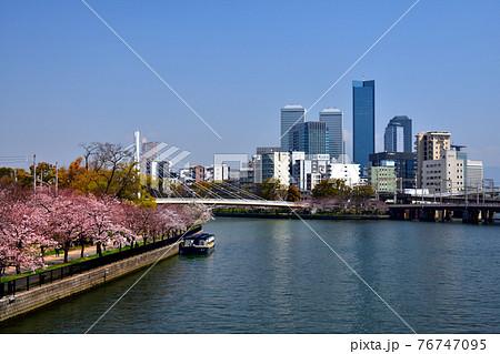 大川に架かる天満橋から見る桜とビル群 76747095