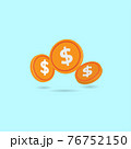 Falling dollar coin isolated on pastel blue background. Minimal design for advertising and promotion. Cartoon style 3d vector illustration 76752150
