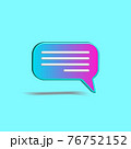 Minimal gradient chat bubble isolated on turquoise color background. Concept of social media messages, SMS, comments. Creative 3D effect vector illustration. 76752152