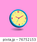 analog wall clock isolated on pastel pink background. concept of time. minimal design for banner, flyer, poster, web site. 3d vector illustration 76752153