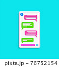 chatting interface with bubble speeches isolated on tosca blue color background. concept of online talking, conversation. minimal design. 3d vector illustration 76752154