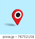 Red map pointer isolated on pastel blue color background. Creative 3D Vector illustration. 76752158