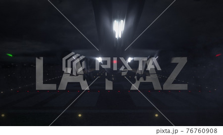 LA PAZ city name and airplane taking off from the airport at night. 3d rendering 76760908