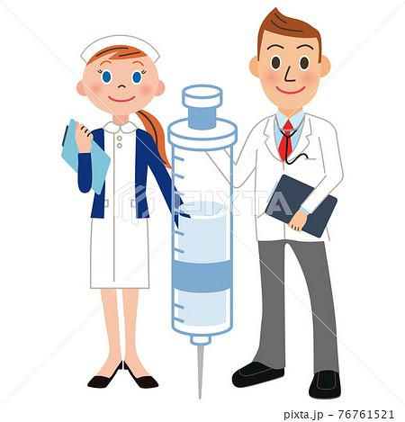 医者 看護婦 ワクチン 注射器 接種 76761521