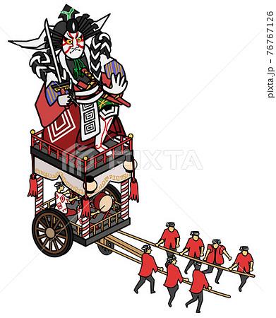 福井県の三国祭り-歌舞伎人形の神輿 76767126