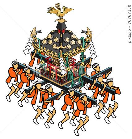 浅草神社の三社祭-赤い法被の男たちが担ぐ 76767130