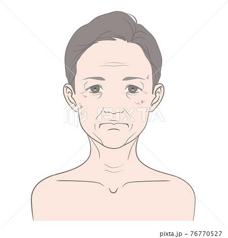 【髪の毛あり】老化が顕著な40代から60代くらいの女性のイメージイラスト 76770527