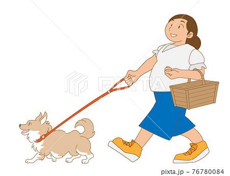 犬と散歩を楽しむ主婦 76780084