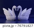 Paper sculpture of a polygonal Swans, folded paper animal, papercraft, two swans love concept, 3d render 76791827
