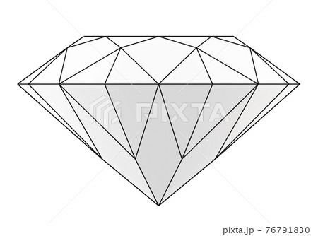graphic contour diamond isolated on white, simple polygonal brilliant, 3d render 76791830