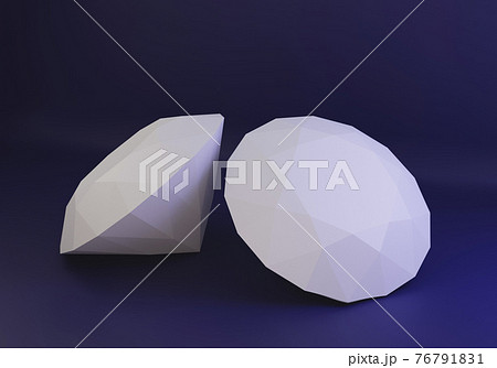 White paper diamond, low poly papecraft, paper home decor, 3d render 76791831