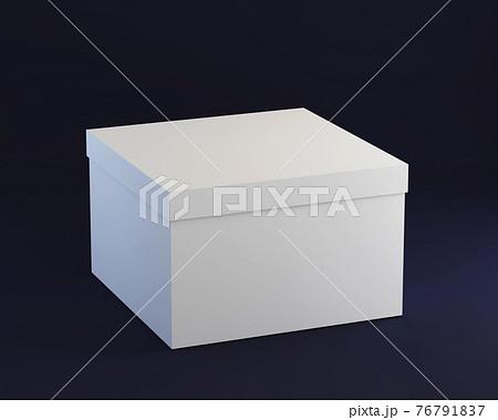 Simple cardboard closed box on dark background, 3d render 76791837