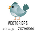 Vector blue generic bird, bluebird or cardinal icon with eye and grey month in side view 76796560
