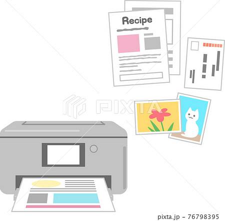 プリンターと印刷された書類、写真、ハガキ 76798395