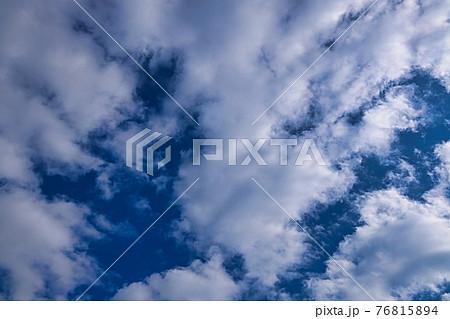 冬の晴れた空に浮かぶ白い雲たちを見上げて撮影 76815894