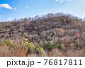 枯木が多く目立つ冬の山と冬晴れの空を撮影 76817811