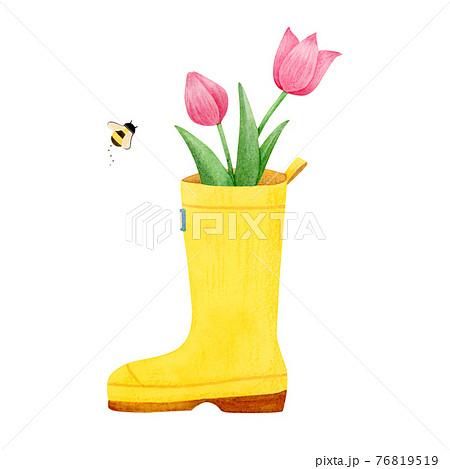 手描き水彩 長靴とチューリップのイラスト 76819519