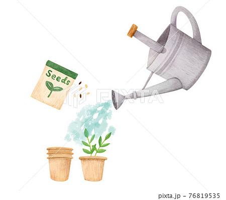 手描き水彩|ジョウロで水やり 家庭菜園 園芸 イラスト 76819535