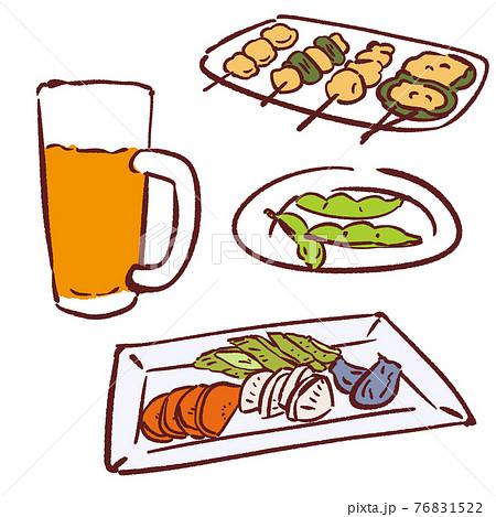 手描きのおつまみイラストセット・焼き鳥と枝豆と漬物とビール 76831522