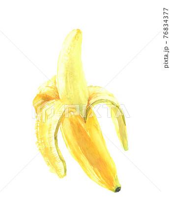 水彩で描いたバナナのイラスト 76834377