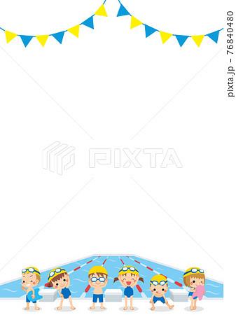 プールサイドで泳ぐ準備をしている可愛い小さな子供たちのイラスト 背景 テンプレート 白背景 76840480