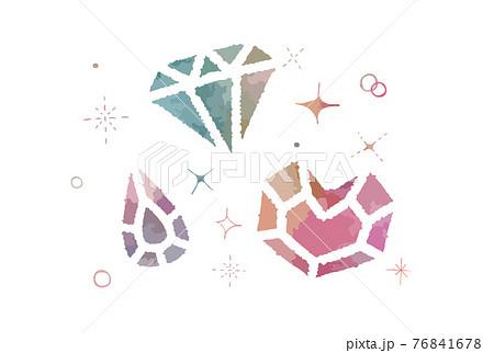 かわいい手描きのカラフルな宝石のイラスト 76841678