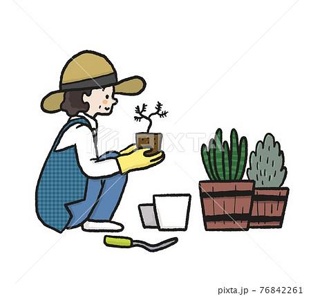 ガーデニングをする女性のイラスト 76842261