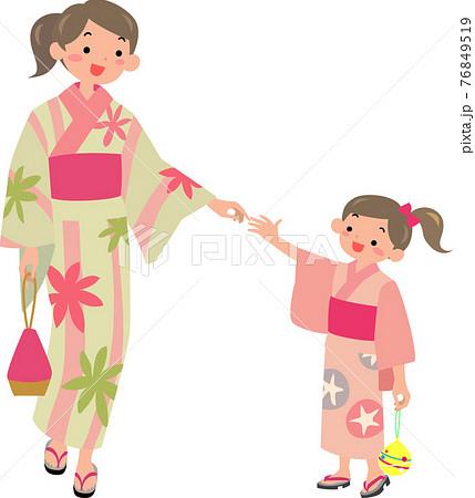 浴衣を着た母親と女の子 76849519