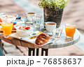 Fresh and delisious breakfast in outdoor cafe at european city 76858637