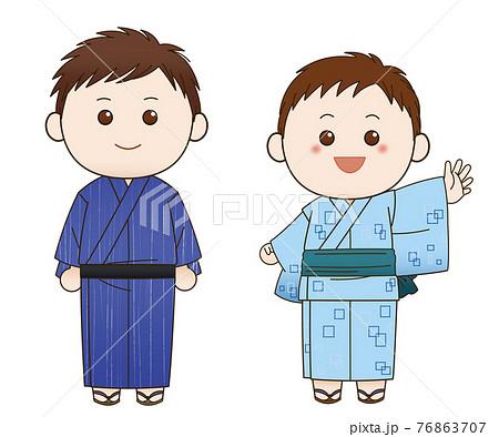 浴衣の男性と男の子 76863707