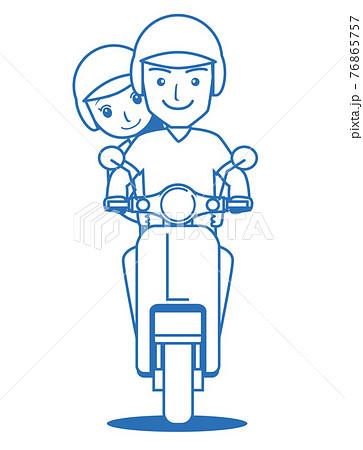男女二人乗りするバイク原付きスクーターの線画イラスト アイコン 76865757