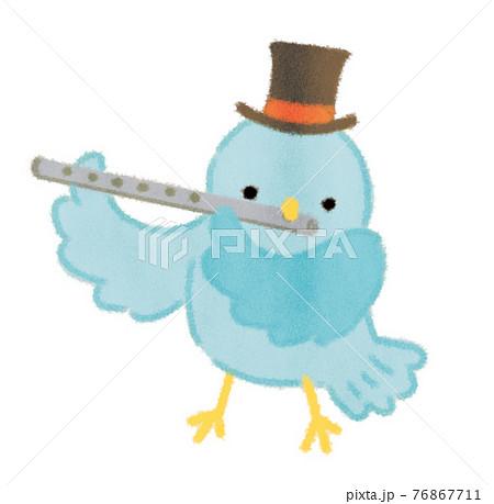 童謡山の音楽家のフルートを吹く小鳥のイラスト 76867711