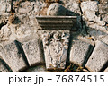 Close-up of a bas-relief of an ancient coat of arms with a lion and patterns. 76874515