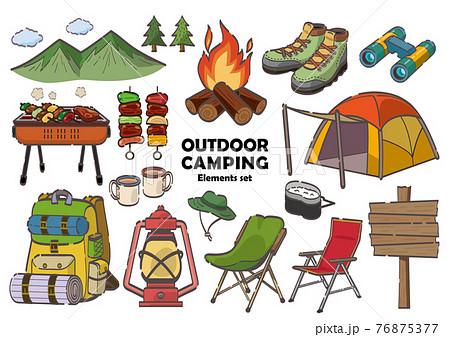 アウトドア用品やキャンプ用品のイラストセット 76875377