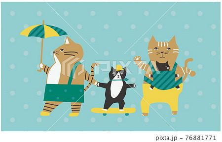 猫の家族は子育て中・赤ちゃんとパパとママと子どものベクターイラスト 76881771
