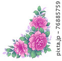 Hand Drawn Floral Bunch with Pink Roses 76885759