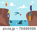 Concept business risk, businessman and businesswoman competition venture, entrepreneur fall abyss with shark flat vector illustration. 76886986