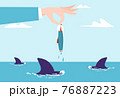 Businessman hand hold tiny businesswoman character above ocean water, dangerous predator shark hunting female flat vector illustration. 76887223