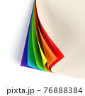 Rrainbow colored curled document corner 76888384