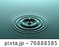 Water drop falling into water surface with ripples 76888385