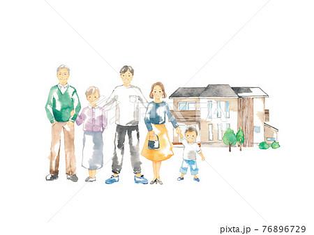 笑顔の三世代家族と二世帯住宅 76896729
