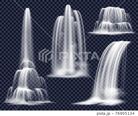 Realistic Waterfalls On Transparent Background Set 76905134
